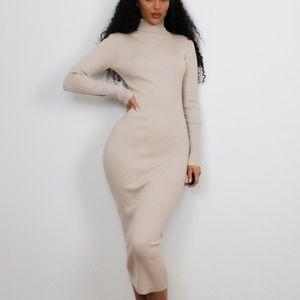 Missguided stone rib knit roll neck midaxi dress